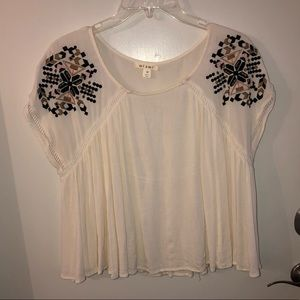 Francesca's Miami Crop Flowy Embroidered Top M